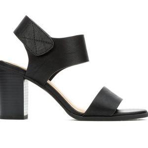 Soda Brand Black Heel Stacked Sandals Open Toe